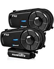 FODSPORTS FX8 Motorcycle Bluetooth Intercom with Noise Cancellation,Helmet Bluetooth Headset with FM,Up to 8 Riders Helmet Intercom,Helmet Headset Communication System for ATV/Dirt Bike/Off Road/2pcs