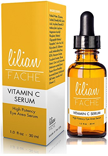 Vitamin C Under Eye and Skin Care Facial Serum By Lilian Fache - With 25% Vitamin C - Highest Potency Naturally Organic Formula for Those Who Want a Lighter Cleaner Feel Than Cream - The Best Formula to Help Eliminate Lines Wrinkles Aging Skin and ...