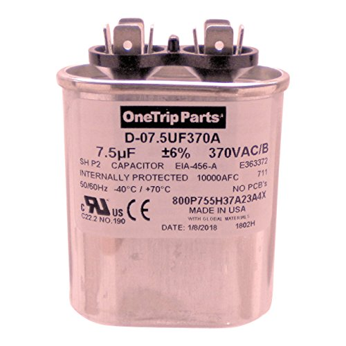 - OneTrip Parts USA Run Capacitor 7.5 UF - 7.5 MFD 370 VAC Flat Oval