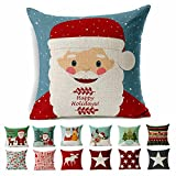 Cotton Linen Square Shams Santa Claus Throw Pillow Cover Decorative Christmas Cushion Case Set of 1 with Hidden Zipper for Sofa Couch Bed and Chair Fit 18x18 Inserts