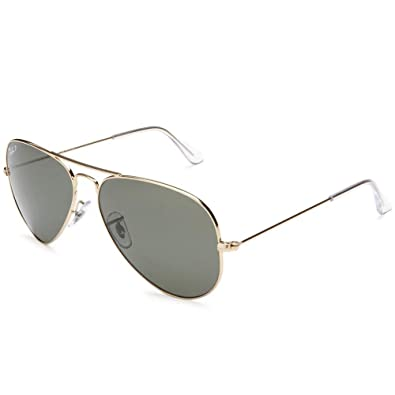 6ffce2e1f46 Image Unavailable. Image not available for. Color  Ray Ban RB3025 001 58 58  Gold Green Polarized Large Aviator ...