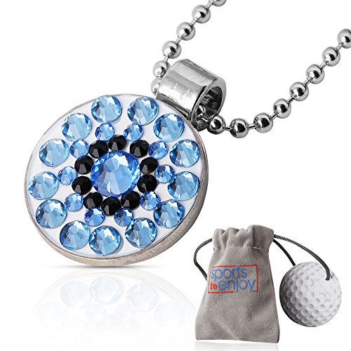 lifetoenjoy Golf Ball Marker Necklace for Women - Bonus: Velvet Pouch for safekeeping - Always Have Your Marker Easily Available - Beautiful Bling Light Sapphire Crystals -with Super Strong ()