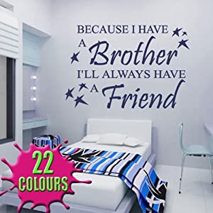 Because I Have A Brother   Wall Decal Sticker Quote Baby Children Nursery  (Medium) Part 72