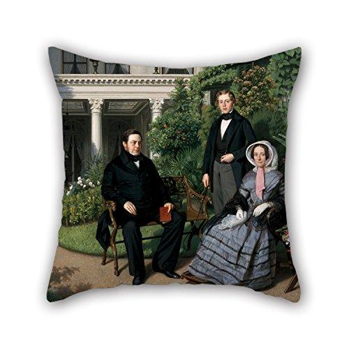Alphadecor Pillowcase Of Oil Painting Johan Heinrich Neuman - Portrait Of The Metelerkamp Family,for Divan,family,play Room,lover,office,valentine 16 X 16 Inches / 40 By 40 Cm(each Side) - Brandos Costumes Filme
