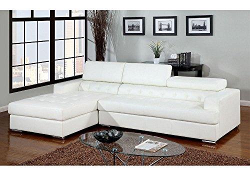 1PerfectChoice Floria L-Shaped Sectional Sofa Chaise Bonded Leather Gas Lift Headrest Chrome Color White