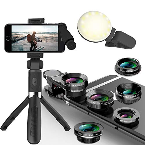 Phone Camera Lens 5 in 1 Kit -Macro Lens & 0.63X Wide Angle Lens with LED Light, Extendable Selfie Stick Tripod with Wireless Bluetooth Remote. Compatible with iPhone/Samsung/BLU Devices etc.