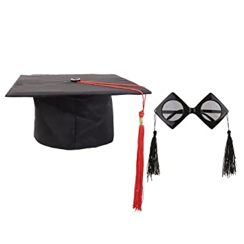 8c8e3617e50 Baoblaze Mortarboard Hat Eye Glasses Graduation Unisex Adults University  Graduation Ceremony Cap with Red Tassel Photo Props  Amazon.co.uk  Toys    Games