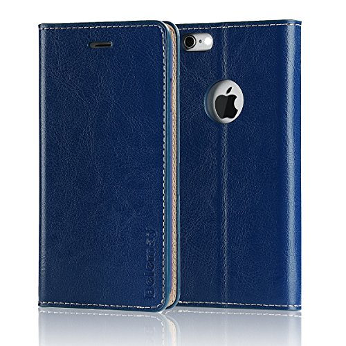 Cowhide Leather Skin Case (Belemay iPhone 6S Plus / 6 Plus Case, Genuine Cowhide Leather Case Wallet, Slim Flip Book Cover with Credit Card Holder, Kickstand, Money Pouch for iPhone 6s Plus & iPhone 6 Plus - Navy Blue)