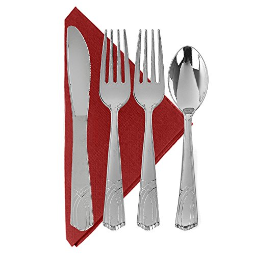 Silver Like Elegant Heavyweight Polished Silver Plastic Cutlery (192 Pc), 96 Forks, 48 Knives, 48 Spoons, Party of 48 Combo Pack (Elegant Plastic Cutlery)