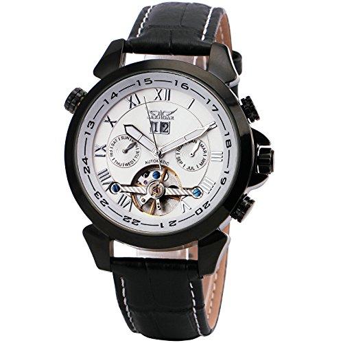 WINNER Men's Black Leather Strap Watch 001 - 3