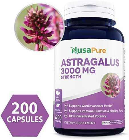 Astragalus 3000mg Per Caps 200 Veggie Capsules (Vegetarian, Non-GMO & Gluten Free) Max Strength - Supports Cardiovascular Health, Boosts Immune Function