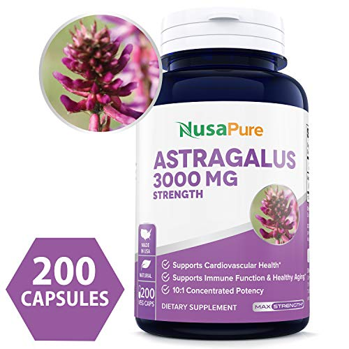 Pure Astragalus 3000mg Per Caps 200 Veggie Capsules (Vegetarian, Non-GMO & Gluten Free) Max Strength - Supports Cardiovascular Health, Boosts Immune Function - Made in USA - 100% Money Back - Supreme Echinacea Extract