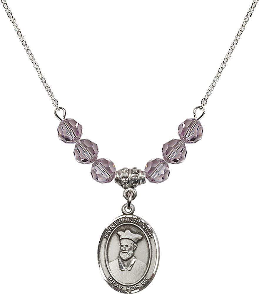 18-Inch Rhodium Plated Necklace with 6mm Light Amethyst Birthstone Beads and Sterling Silver Saint Philip Neri Charm.