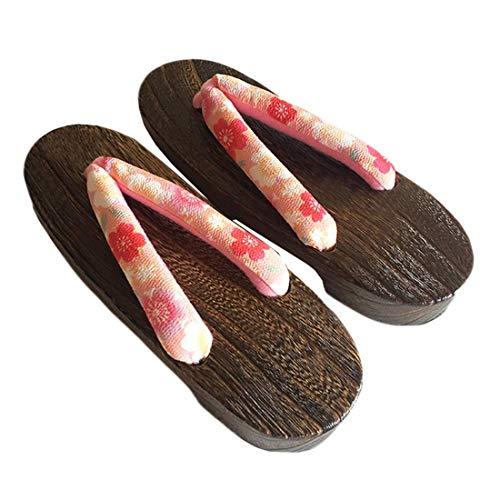 Wooden orange Ez Japanese Geta Shoes sofei Women's Traditional C Sandals Floral rOOYBvwq