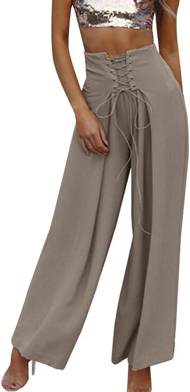Pantalones Largos Para Mujer Anchos Cintura Alta Verano Paolian 2019 Pantalones Palazzo Vestir Elegantes Fiesta Yoga Tallas Grandes Amazon Es Ropa Y Accesorios