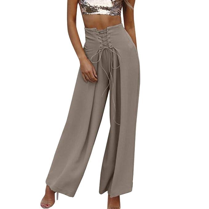 Pantalones de Moda Mujer SUNNSEAN Cintura Alta Pierna Ancha Falda Pantalones Pantalones de Yoga Harem Sueltos Pantalones Color Liso Sueltos Loose ...