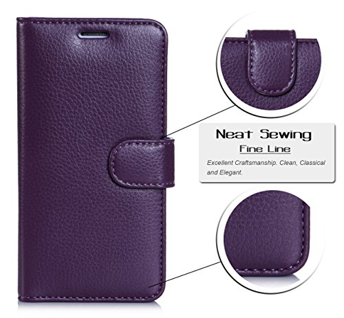 S6 Edge Case, Galaxy S6 Edge Case [Updated Version], FYY® Premium Leather Flip Case Stand Cover with Card Slots and Note Holder for Samsung Galaxy S6 Edge Purple