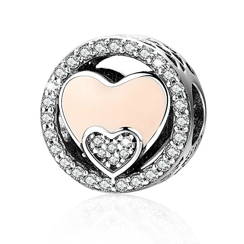 Heart European Bead Sterling Silver (ANGELFLY Pink Enamel Heart 925 Sterling Silver Charm Beads European Charm Heart Bead fit Pandora Bracelets European Bracelets and Necklaces Unforgettable Mother's Day gift)