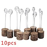 Photo Clip Rustic Real Wood Base Table Name Number Holder Picture and Memo Note Card Holders for Wedding Party Decoration