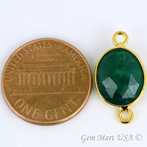 Natural Emerald, Bezel Connector Oval Shape 9x11mm 24K Gold Plated Gemstone Connector/Pendant(EM-10149) 24k Oval Pendant