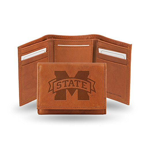 Mississippi State Bulldogs Wallet - Rico Industries NCAA Mississippi State Bulldogs Embossed Leather Trifold Wallet