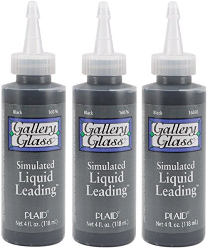 - Gallery Glass Plaid Simulated Liquid Leading (4 Ounce), 16076 Classic Black (3 Pack)