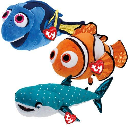 Medium Size Ty Disney Sparkle Finding Dory set of 3 Dory, Nemo and Destiny
