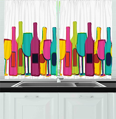 Ambesonne Kitchen Decor Collection, Pop Art Wine Bottles and Glasses Background Bar Party Happy Hour Retro Design, Window Treatments for Kitchen Curtains 2 Panels, 55X39 Inches, White Pink Blue Green