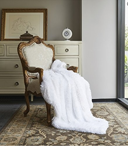 Virah Bella Ombre Plush Faux Fur Mink Throw; Luxury 50 x 60 Blanket (White)