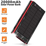AMAES Solar Charger 20000mAh, Portable Phone Charger External Battery Pack, Compatible with iPhone Samsung Tablets & More, Type-C and Micro USB Inputs, 3 Outputs, Flashlight, Carabiner, IP54 Rainproof
