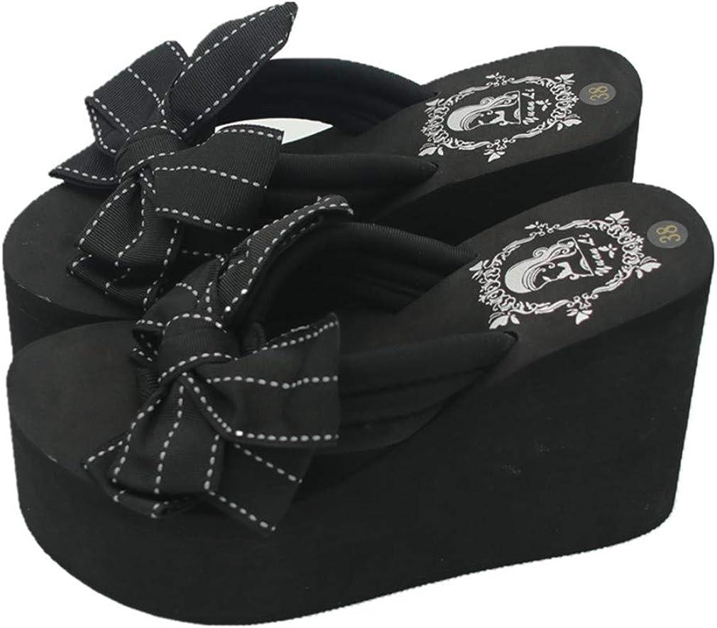 Mamilove Womens Chunky High Platform Wedge Flip-Flops Sandals