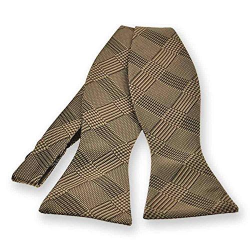 TieMart Toffee Brown Michael Glen Plaid Self-Tie Bow Tie
