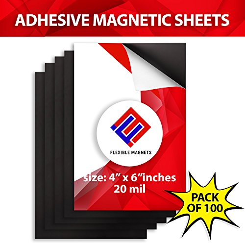 Flexible Adhesive Magnetic Sheets Peel and Stick, 4x6 inches. Perfect for Photos and Other Crafts. 100 Pack