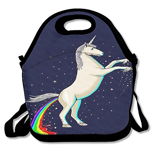 Unicorn Horse Fashionable Insulated Thermos Polyester Strap Women Men Kids Boys Black Lunch Bag Tote Lunch Box For Travel Office
