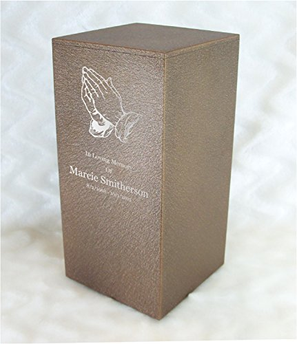 PERSONALIZED Engraved Praying Hands Cremation Urn for Human Ashes-Made in America-Handcrafted in the USA by Amaranthine Urns-Eaton DL-Adult Funeral Urn (up to 200 lbs living weight)(Cast Bronze)