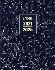 Agenda 2021-2025: Journalier 5 années   Planificateur 1 mois sur 2 pages   Janvier 2021 à Décembre 2025   Délicat Broché