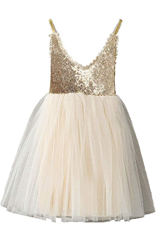 Topmaker Couture Gold Sequin Glitter Flower Girl Birthday Party Dress