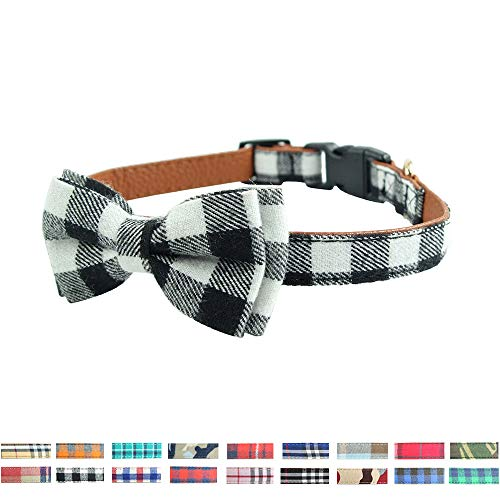 (Bowties for Dogs - Cute Plaid Sturdy Soft Cotton&Leather Dog Collars for Small Medium Large Dogs Breed Puppies Adjustable 18 Colors and 3 Sizes (Black&White Plaid, S 10