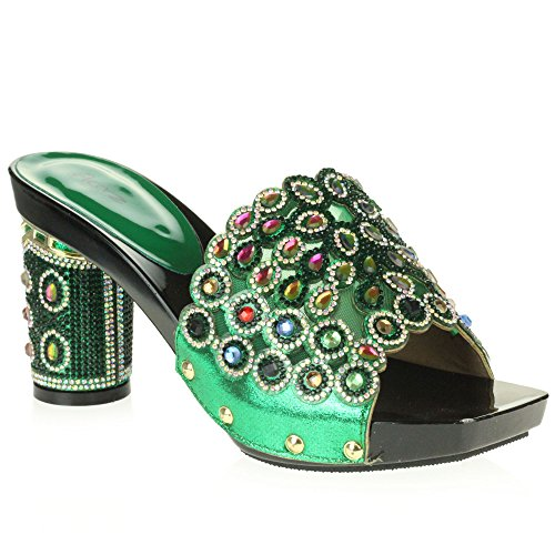 Women Ladies Crystal Diamante Evening Wedding Party Bridal Prom Decorated Block Cone Heel Slip-On Sandals Shoes Size Green LprFwcORc
