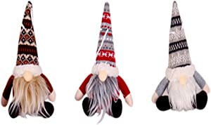 COSVER-3 Pack Tomte Gnome Plush Ornaments, Christmas Decor Stuffed Gnome Garden Ornament Set for Family and Friends, Christmas Elf Tree Hanging Ornaments for Home,Restaurants,Office-8 Inch