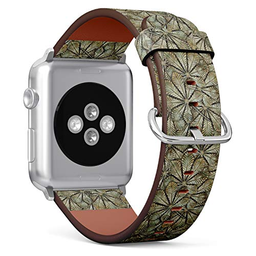 [ Compatible Big Apple Watch 42/44 mm ] Replacement Leather Band Bracelet Strap Wristband Accessory // Bronze Chestnut Leafs Pattern