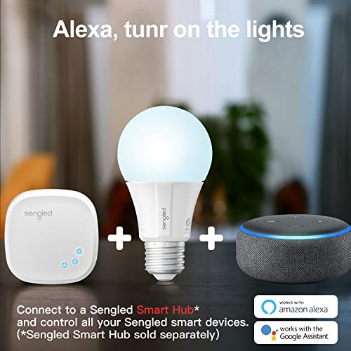 Sengled Zigbee Smart Light Bulbs, Smart Hub Required, Works with SmartThings and Echo with built-in Hub, Voice Control with Alexa and Google Home, Daylight 60W Equivalent A19 Alexa Light Bulb, 4 Pack