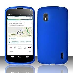 For LG Nexus 4 E960 Silicone Skin Case Cover - Blue