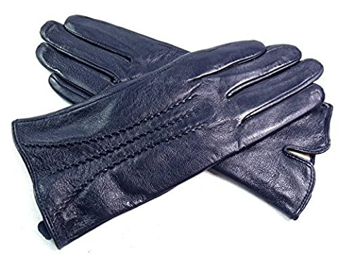 The Leather Emporium Women's Gloves Fur Lined Stripe Detail Slim Fit Medium Navy - Fur Leather Gloves