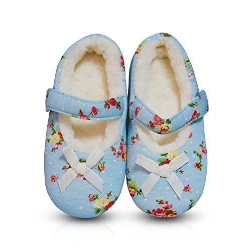 LA PLAGE Kid/Toddler Indoor Soft&Comfortable Plush Floral House Slippers with Bowknot