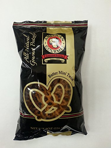 American Gourmet Butter Mini Twist Pretzels 8 Oz Bag (Pack of 6) ()