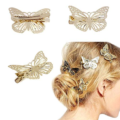Orcbee  _1Pair Golden Butterfly Hair Clip Headband Hair Accessories Headpiece