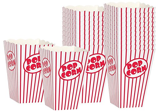 Movie Party Popcorn boxes - Striped White and Red Popcorn Boxes - Great for movie night or movie party theme, theater themed decorations or Carnival party circus box etc. (20 Boxes)]()