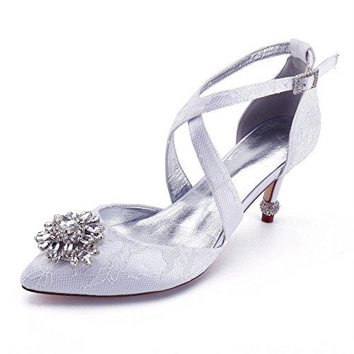 Femmes Chaussures Hauts Chaussures Dentelle de Fleur Parti Bas Satin Chaussures Mariage Talon Danse Talons Zxstz Chaussures Nuptiale blanc à RHITnxn