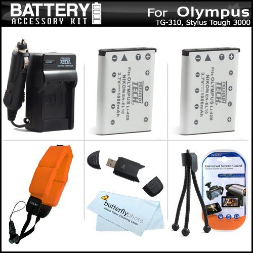2 Pack Battery And Charger Kit For Olympus Tough TG-320, TG-310, Stylus Tough 3000 Digital Camera Includes 2 Extended (1000Mah) Replacement LI-42B Batteries + AC/DC Charger + Strap Float + USB 2.0 SD Reader + Mini Tabletop Tripod + Screen protectors +More